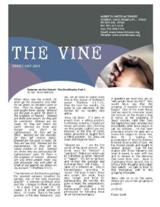 The February 2019 issue of The Vine, the monthly article that is produced by Murrieta United Methodist Church